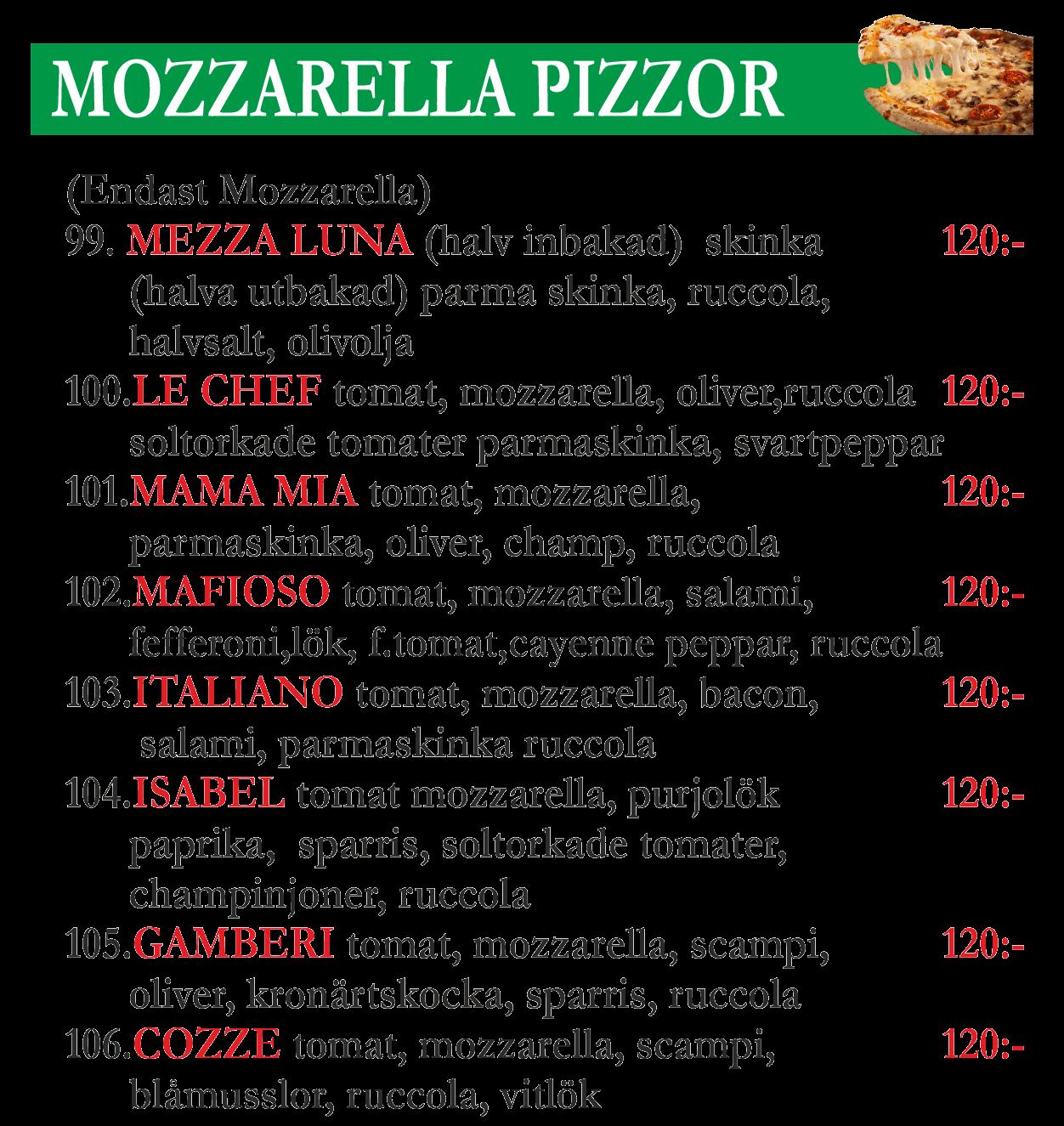 mozzarella-pizzor